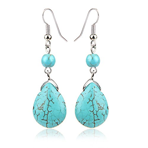 Black Friday Deals Cyber Monday Deals Week-ValentoriaSimple Elegant Silver Plated Fishhook Small Bead Teardrop Rimous Turquoise Dangle Drop Earrings Gift For Women Girls (Blue)