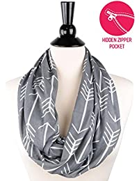 Womens Arrow Pattern Infinity Scarf Wrap Scarf with White Zipper Pocket, Infinity Scarves, Travel Scarf