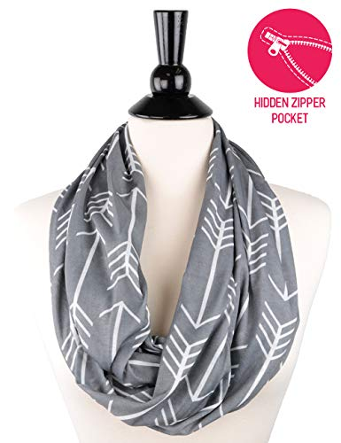 Womens Arrow Patterned Infinity Scarf with Zipper Pocket, Summer Fashion Scarves ()