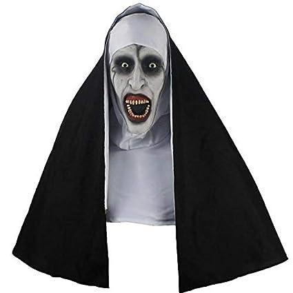 a35160fac5b8 leenBonnie Design Unico Nun Horror Mask Cosplay Spaventoso Maschere in  Lattice con Foulard Velo Hood Full Mask Horror Costume di Halloween Prop   Amazon.it  ...