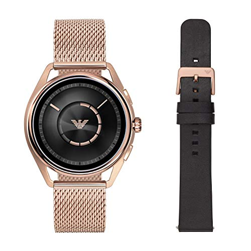 Emporio Armani Men's Stainless Steel Plated Touchscreen Smartwatch, Color: Rose Gold-Toned (Model: ART9005)