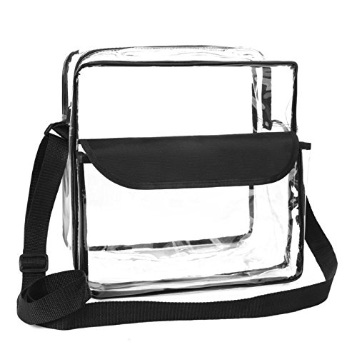 Seasons Treasure 8 inch Clear Cross-Body Messenger Shoulder Bag w Adjustable Strap, PGA NCAA and NFL Stadium Approved Clear Purse by Seasons Treasure
