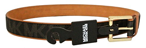 (Michael Kors Women's Belt Monogram Chocolate Faux Leather Gold-Tone Buckle (Small) )