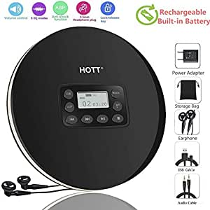 DeeFec Portable CD Player with Headphones, HOTT Personal CD Walkman Music Player with LCD Display, Skip Protection Shockproof Anti Scratch Function, Support CD, MP3 CD, CD-R, CD-RW Format DeeFec-711-1-New-Black