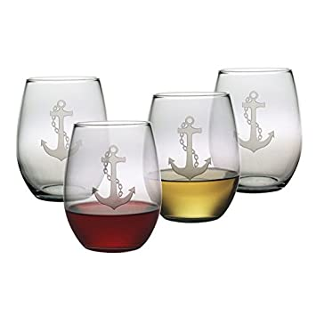 15oz Anchor Collection Stemless Wine Glasses – Set of 4
