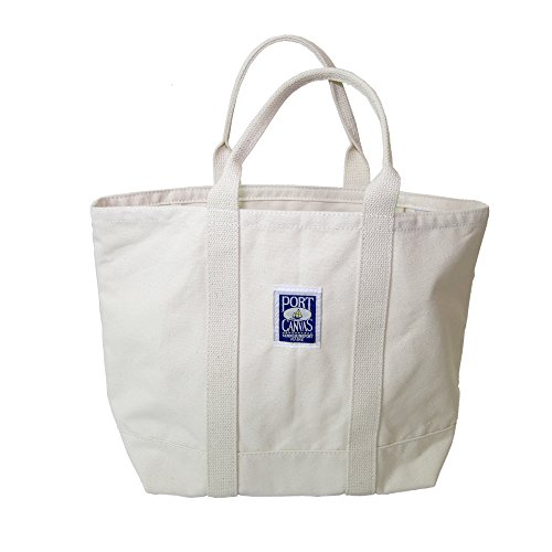Handmade Heavy Duty Canvas Clipper Tote Bag By PORT CANVAS - Made of 100% Cotton One At A Time in Maine, USA - Natural Color made in Maine