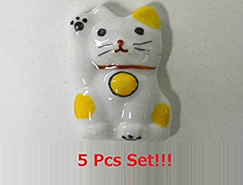 Fukuda Pottery - Juego de 5 Juegos de Palillos de Golf para Gatos (Maneki Neko Lucky Cat Fortune Cat), Color Amarillo 285-3 de Japón: Amazon.es: Hogar