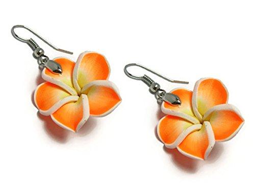 - CHADADA Hawaiian Fimo Plumeria Flower Dangle Earrings Handmade, 25 mm (Orange), EH31