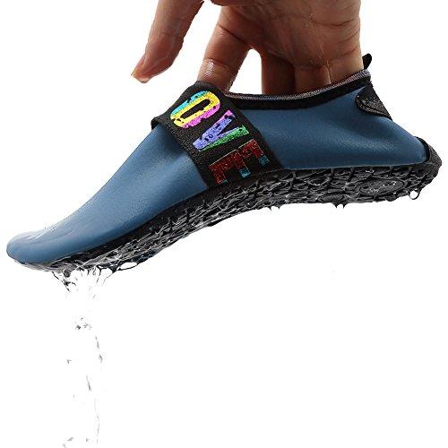 EQUICK Damen Wasserschuhe Quick-Dry Verschnaufpause Sport Skin Schuhe Barfuß Rutschfeste Multifunktionssocken Yoga Übung L.blau