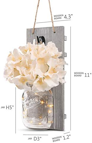 HOMKO Decorative Mason Jar Wall Decor – Rustic Wall Sconces with 6-Hour Timer LED Fairy Lights and Flowers – Farmhouse Home Decor (Set of 2) 41KDBomO99L
