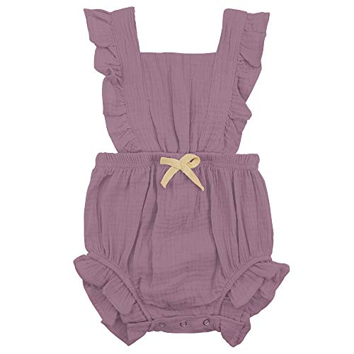 (Zando Baby Girl Romper Toddler Ruffled Bowknot Collar Sleeveless Bodysuits Infant One-Piece Jumpsuit Newborn Outfit Clothes Light Purple 6-12 Months)