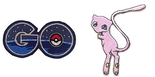 J&C Pokemon GO Logo and Mew 2-Pack Gift Set Embroidered Sew/Iron-on - Logo Mew