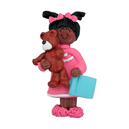 Personalized Child with Teddy Bear Christmas Tree Ornament 2019 - African-American Toddler Girl Pink Pajamas Sleep Story Book Mom PJs Love Grand-Daughter Black - Free Customization (Female Ethnic)]()