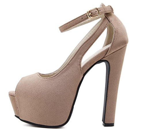 LINYI WOMEN Stiletto Heels Schuhe Plateau Sandalen Mode Open-Toe Schnalle Schuhe Sommer Schwarz Beige Beige