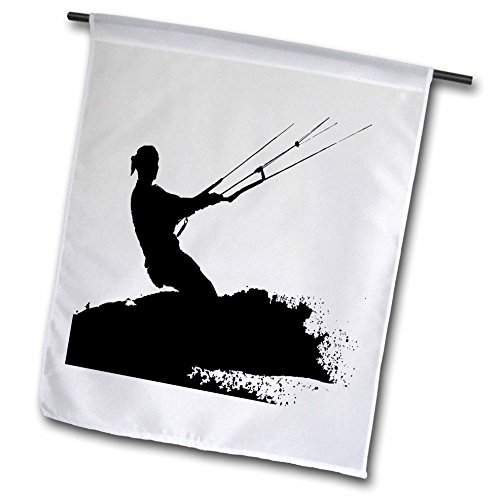 A Fly Kite Go Flag (3dRose Taiche - Vector - Kitesurfing Wakeboarding - Wakeboarder Lets Go Fly A Kite Silhouette - 18 x 27 inch Garden Flag (fl_264530_2))