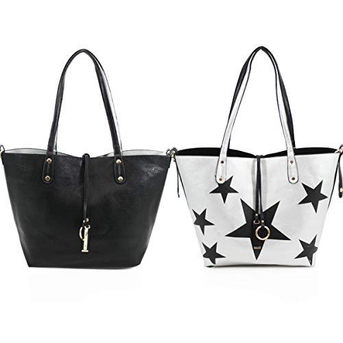 Shoulder Reversible In Women's Silver 2 LeahWard Black 9002 Bags Shopper Handbags 1 dO7gYxwq5