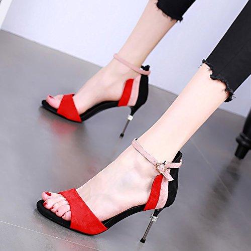 Las del de Verano Multa YMFIE Moda Sandalias la Elegante Sexy UE de pie con Juego la Abierta a 36 Dedo Tacones Rojo Temperamento del Mujeres Rhinestone Altos dPEwqwH