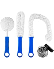 QUACOWW 3 Pieces Decanter Cleaning Brush Set Wine Decanter Cleaning Brush Glassware Cleaning Brushes with 400 Reusable Stainless Steel Cleaning Balls Cleaning Tools for Champagne Glass and Beer Glass