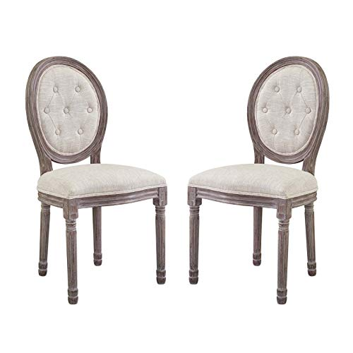 Furniture XO Integres Vintage French Upholstered Fabric Dining Side Chair Set of 2 WL-04220-MW