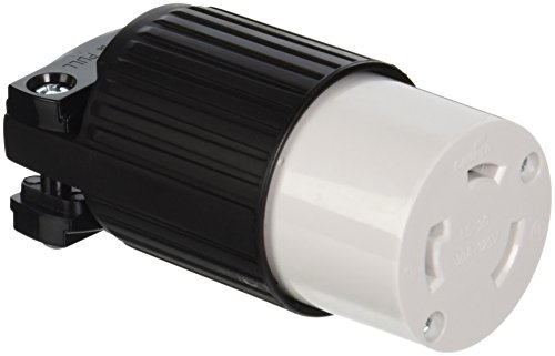 EATON L530C Arrow Hart Safety Grip Grounded Polarized Twist Lock Electrical Connector, 30 A, Black And White