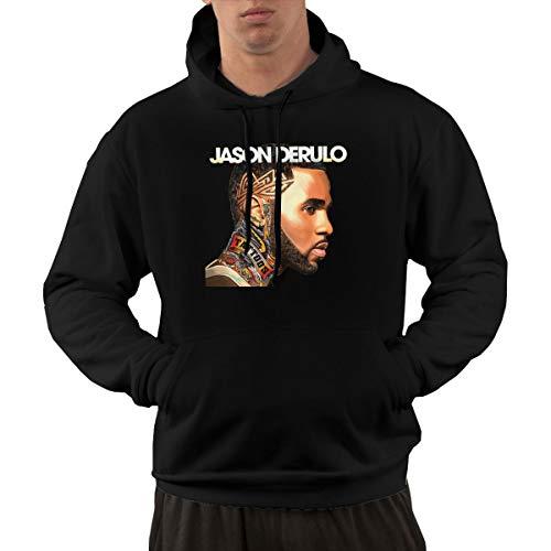 NNJD Mens Jason Derulo Funny Hoodie Sweatshirt Kangaroo Black M (Jason Derulo Sweatshirt)