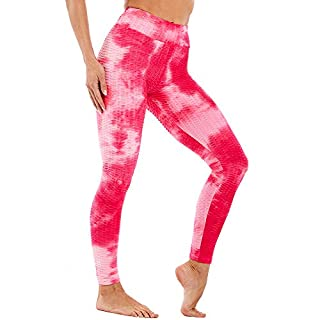 Diva77 Women's High Waist Yoga Pants Sexy Butt Lifting Stretchy Leggings Workout Running Slimming Booty Tights Red Pink