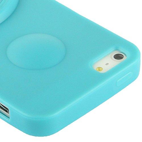SCSY-phone case Para IPhone 5 & 5s & SE & SE caso helado translúcido de TPU con el ángulo de la rotación que mira el sostenedor ( Color : Pink ) Baby Blue