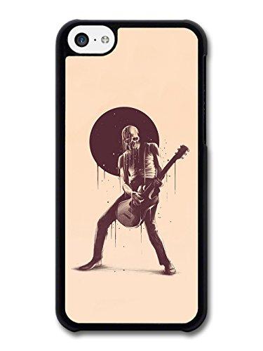 Cool Skull Rock Star With Guitar Illustration on Beige Design case for iPhone 5C