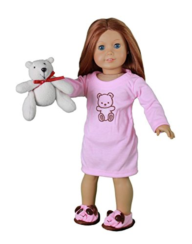Dress Along Dolly 3Piece Doll Outfit with Pink Nightgown, Bear Slippers & Stuffed Teddy Bear For 18