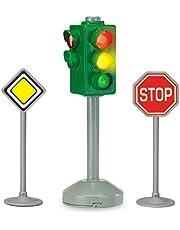 Dickie Toys City Light, zasilana na baterie lampa z dwoma znakami drogowymi, lampa z automatyczną zmianą światła i funkcją stopu, w zestawie 2 znaki drogowe, 12 cm, z bateriami, dla dzieci od 3 lat