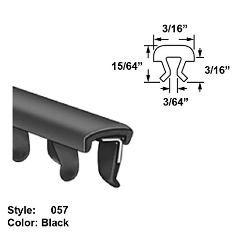 Cushioned Flexible Nylon-Coated Stainless Steel U-Channel Push-On Trim, Style 057 - Ht. 15/64'' x Wd. 3/16'' - Black - 5 ft long