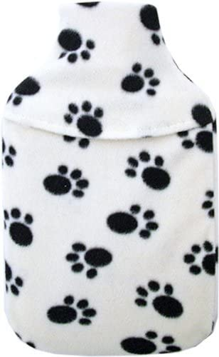 Cosy Fleece Cream Paw Print Design 1L Small Hot Water Bottle & Cover by Vagabond