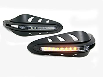 con LED bianco Heinmo Paramani da moto in carbonio giallo