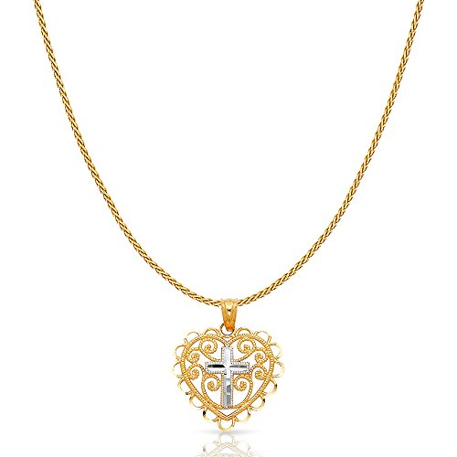 14K Two Tone Solid Gold Cross in Fancy Heart Charm Pendant with 0.9mm Wheat Chain Necklace - 20