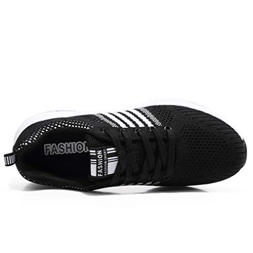 Para Negro Ocasionales Zapatos B Casuales Respirables Corrientes Moda Naturazy Correas Bordadas De Huecas Cruzadas Manera Planas Deporte Malla Arriba Redondo Zapatillas CRvxzqZw