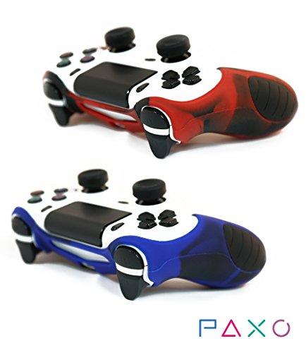 2 x PAXO PS4 Controller Silikon Schutzhülle, rot-blau Sleeve bundle