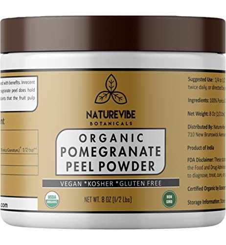 Naturevibe Botanicals Pomegranate Peel Powder 1/2 Lb (8 Oz) - Organic Punica Granatum | Gluten Free & Non GMO | Skin Care.