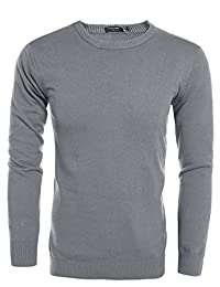COOFANDY Men's Slim Fit Basic Knitted Pullover Crewneck Sweater