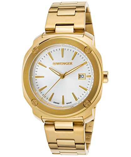 Wenger 01-1141-116 Men's Edge Index Gold-Tone Stainless Steel Light Silver-Tone Dial Watch
