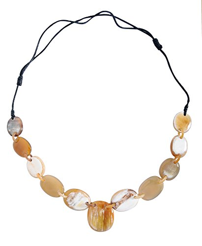 MaryCrafts Tribal Bib Style Organic Buffalo Horn Necklace Adjustable Natural (Tribal Horn Necklace)