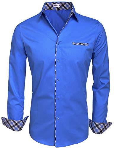 (Hotouch Men's Regular Fit Stretch Check Buttondown Collar Dress Shirt Snorkel Blue M)