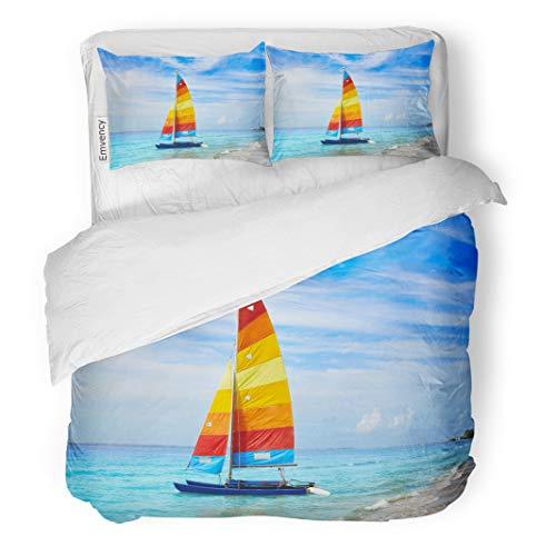 Semtomn Decor Duvet Cover Set Twin Size Blue Florida Fort Myers Beach Catamaran Sailboat in USA 3 Piece Brushed Microfiber Fabric Print Bedding Set Cover]()