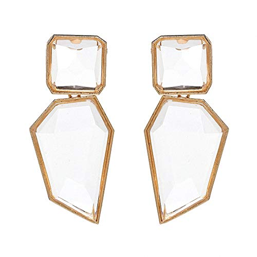 Women Geometric Acrylic Statement Drop Earrings Transparent Stone Earrings With Golden Edges White