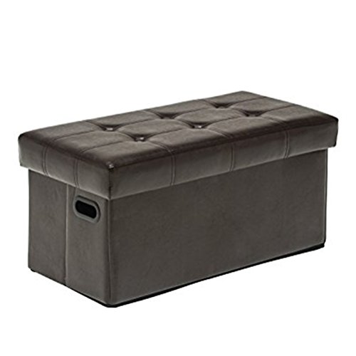Tongli Leather Folding Storage Ottoman/Square Footstool/Bench with Dual Plastic Handles, Button-Tufted,Single,Espresso…