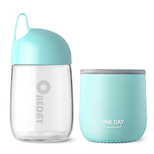 ONEDAY SB90014 300ML Borosilicate Glass Water Bottle with Nylon Sleeve, Portable and Stylish and High Quality Handmade ,236G (300ML-Small Egg Cup(Blue))