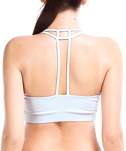 YIANNA Women's Padded Sports Bra Light Support Corss Back Wirefree Workout Gym Running Yoga Bras White, YA-BRA142-White-M
