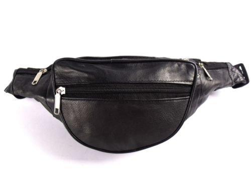 Neu Hüfttasche Schwarz Weiches Leder 6 Reißverschlüsse Geld Tasche 2 eNqZK