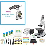 Microscope Kit with Metal Arm and Base, 6 Magnifications from 50x to 1200x, Includes 86-Piece Accessory Set and Case (5 Bonus Animal/Plant sides) (86 - Piece Accessory Set + Smart Phone Adopter)