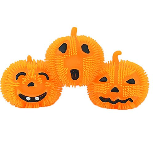 Lucky Shop1234 Pumpkin Ball Light Up Flashing Spiky Ball Bundle Halloween Toy and Novelty Assortment 3pcs -
