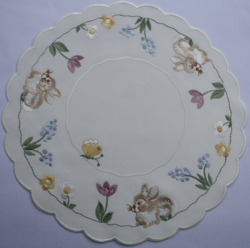Linen Doily with Tan Bunny, Spring Blooms and Butterflies (11 round) by Yesteryear Linen
